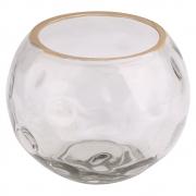 Vaso vidro transparente trabalhado e dourado 15x12cm BTC