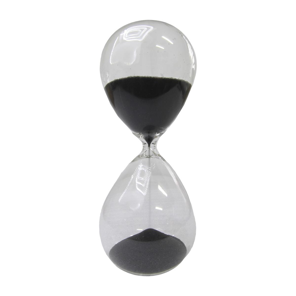 Ampulheta em vidro com areia preta 15 min 8x19,5x8cm BTC