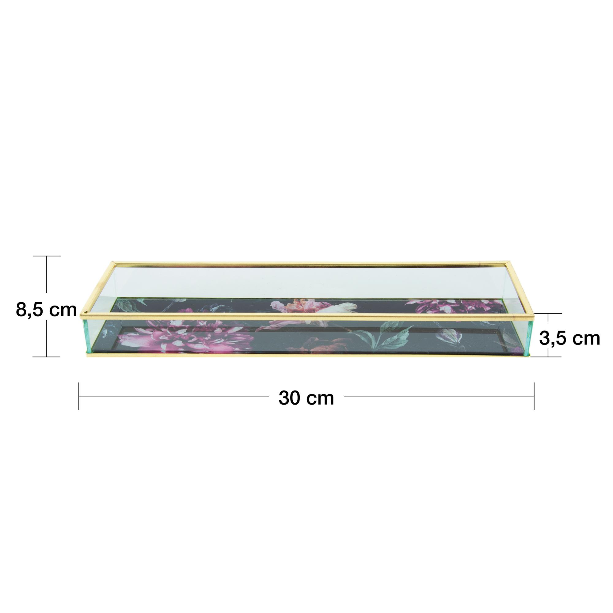 Bandeja decorativa vidro Floral preta 31x8x3cm Rojemac