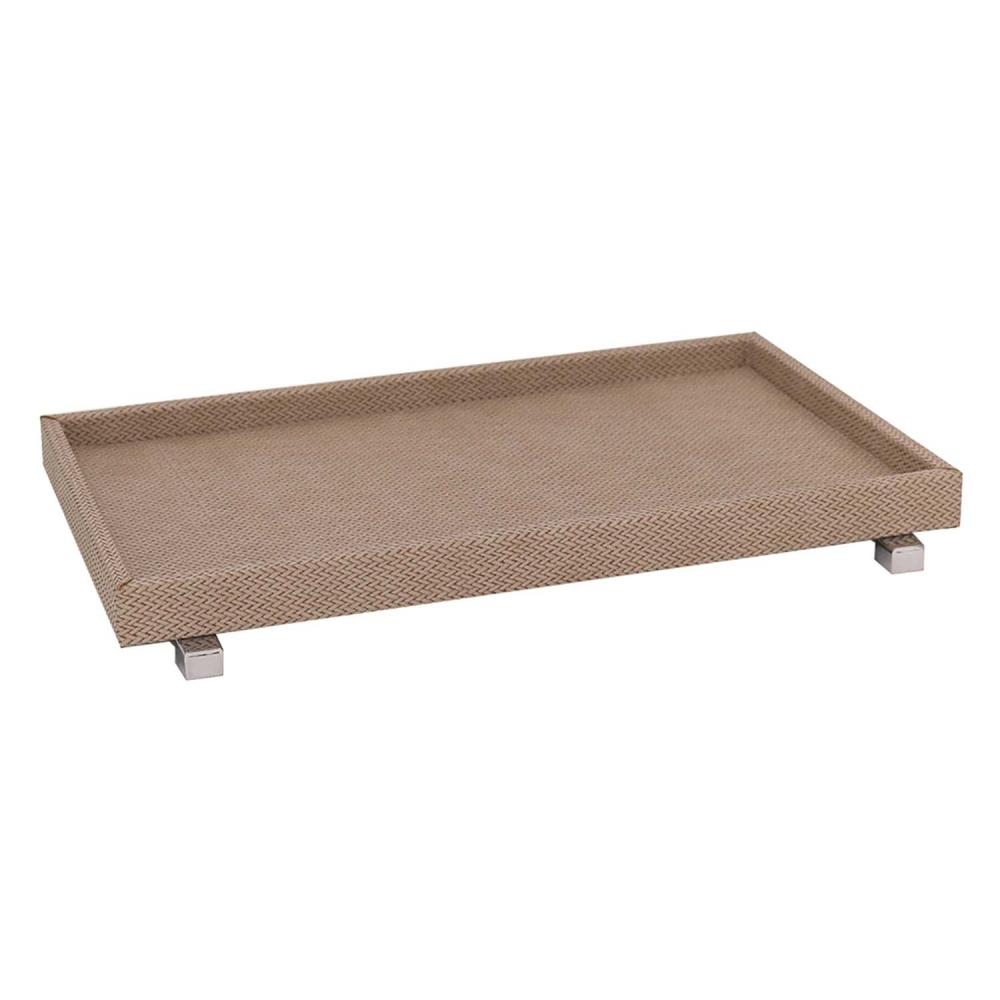 Bandeja madeira forração bege e pés em metal 45x30x5cm BTC