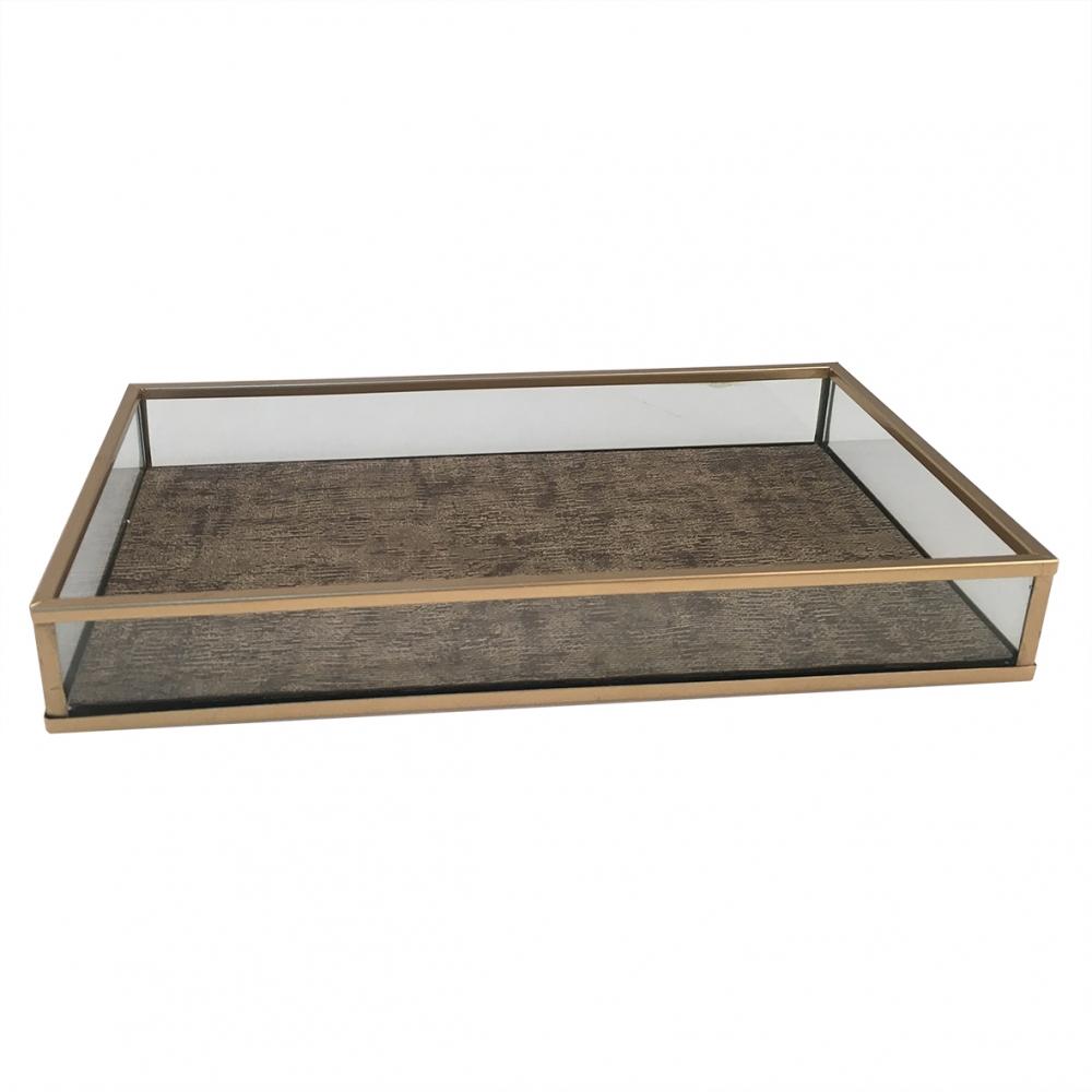 Bandeja metal dourado vidro transp/marrom 24x14x3cm BTC