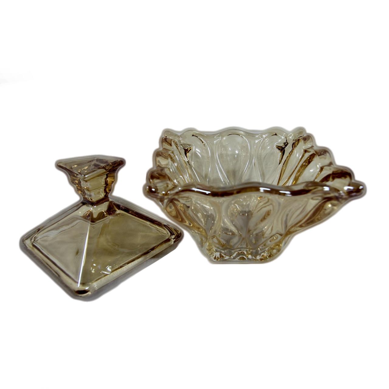 Bomboniere cristal  quadrada âmbar safira10,8X12,5 Wolff