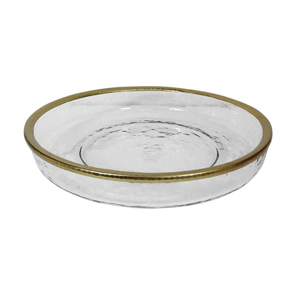 Bowl de vidro relevo e cobre 33x6cm BTC