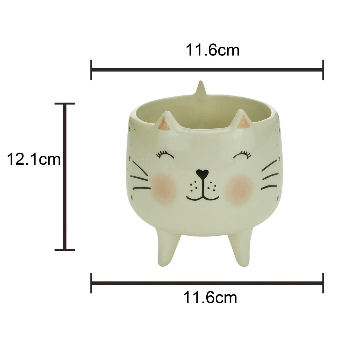 Cachepot cerâmica Charmy Feet Cat branco 11,5x12,5 cm Urban
