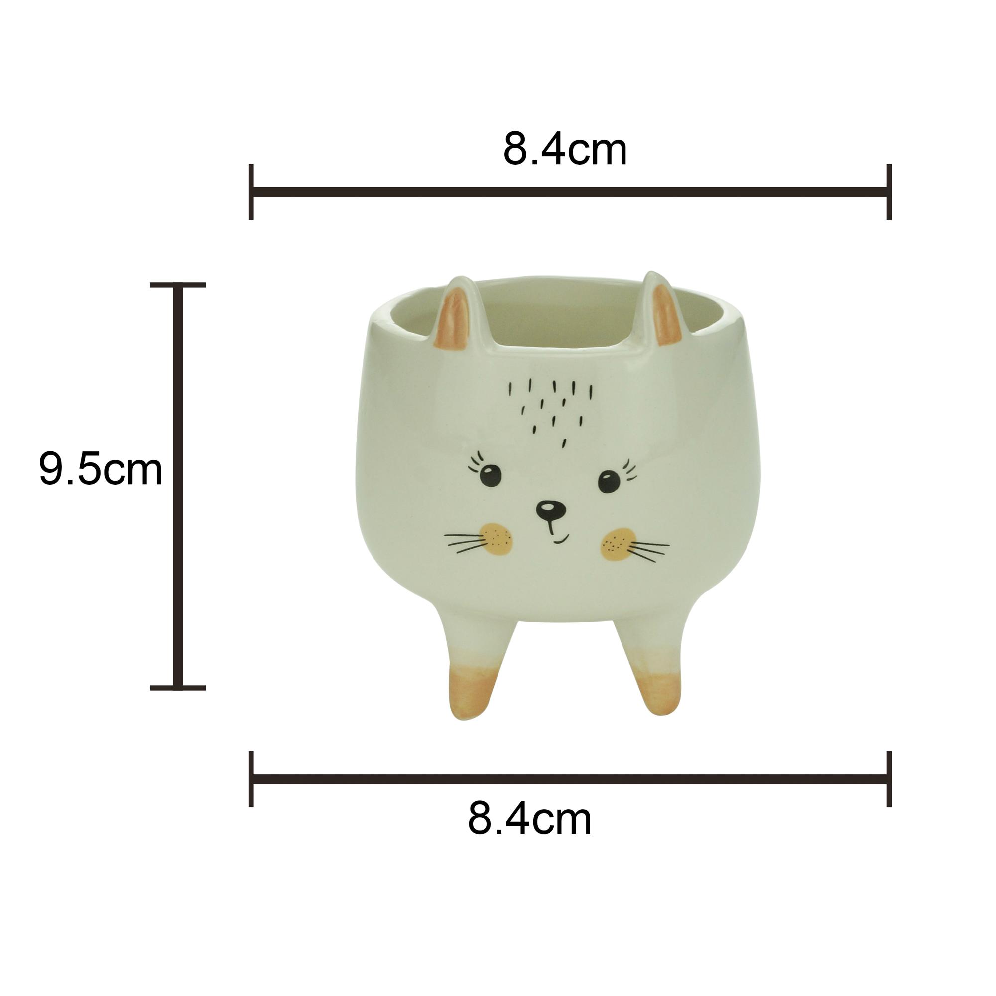 Cachepot cerâmica Charmy Feet Rabbit branco 8,4x9,5cm Urban