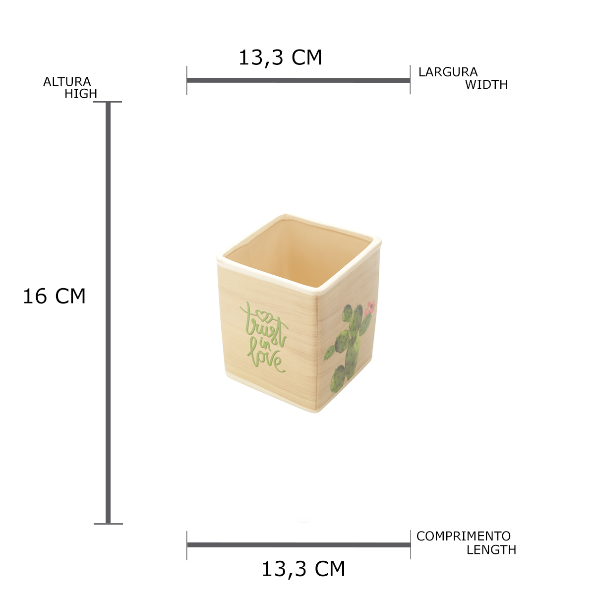 Cachepot cerâmica Desert Cactus quadrado bege 13,3x16cm Urban