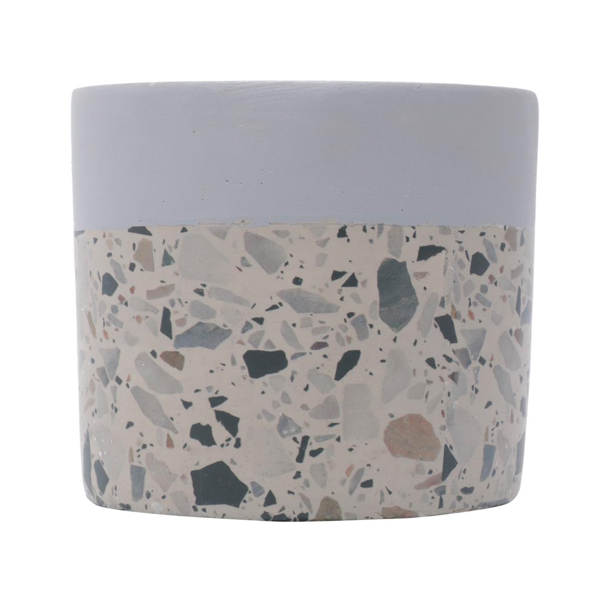 Cachepot concreto Granilite Fossil Stardust cinza/bege 8,5x7,5cm Urban