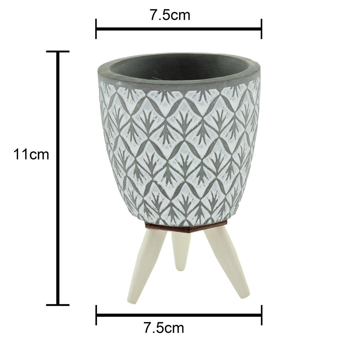Cachepot concreto Losang Leef cinza com pé 7,5x11cm Urban