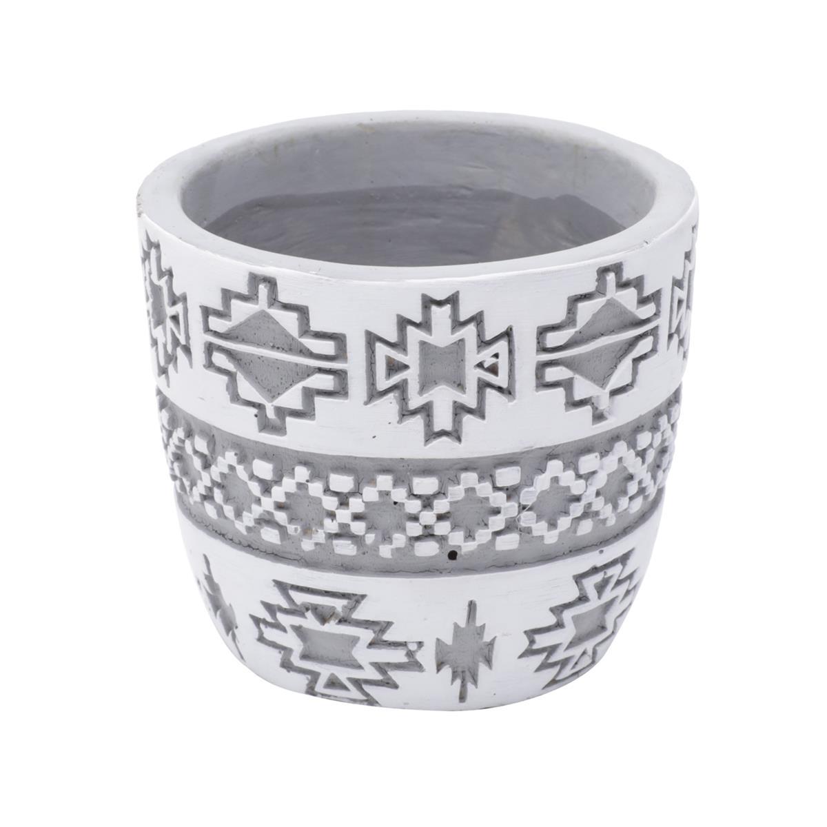 Cachepot concreto Square American Tribal Native cinza/branco 8,5x7,5cm Urban