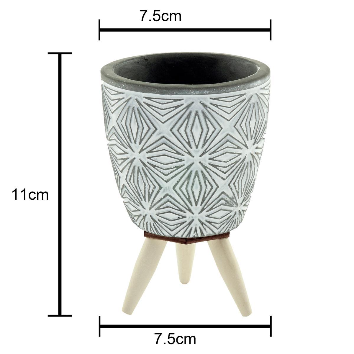 Cachepot concreto Symmetry Flowers cinza c/pé 7,5x11cm Urban