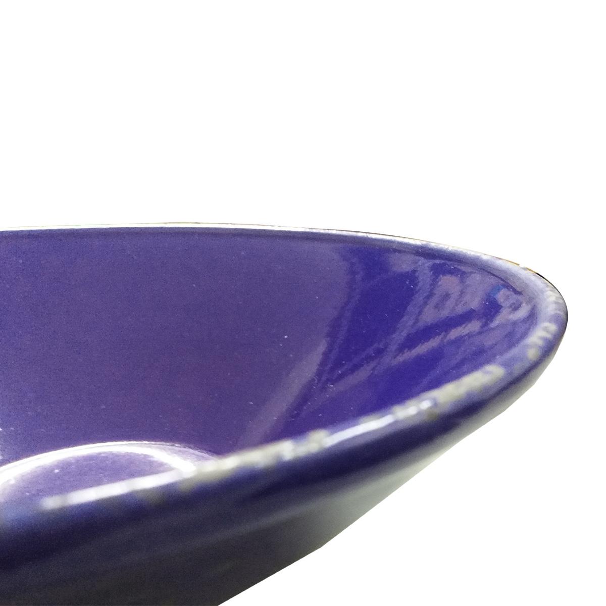 Cachepot em Cerâmica Rústico Esmaltado Azul 32x10cm