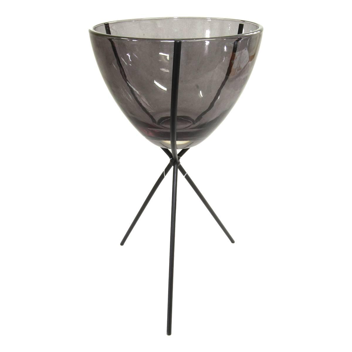 Castiçal de metal e vidro cinza baixo 12,2x18,8cm BTC