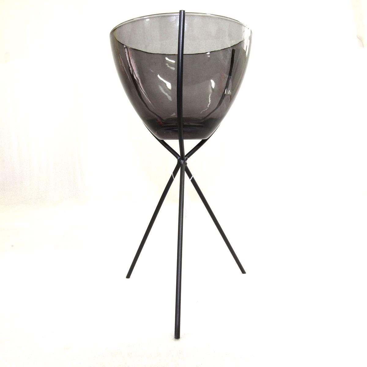 Castiçal de metal e vidro cinza baixo 12,2x22,6cm BTC
