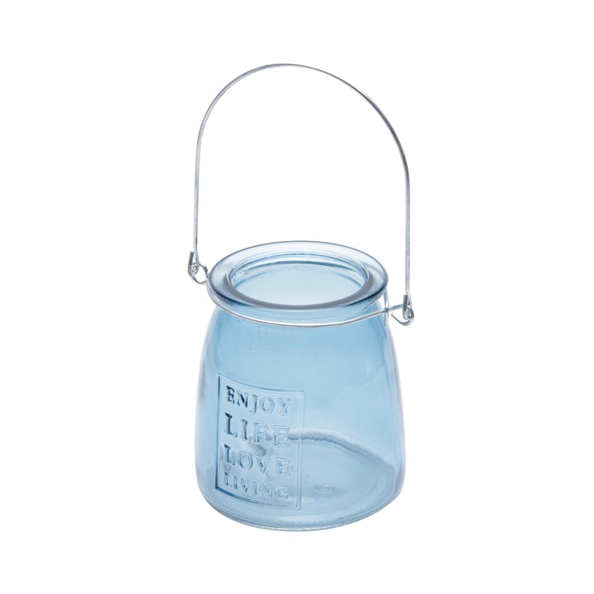 Castiçal de Vidro Enjoy Life Urban Azul