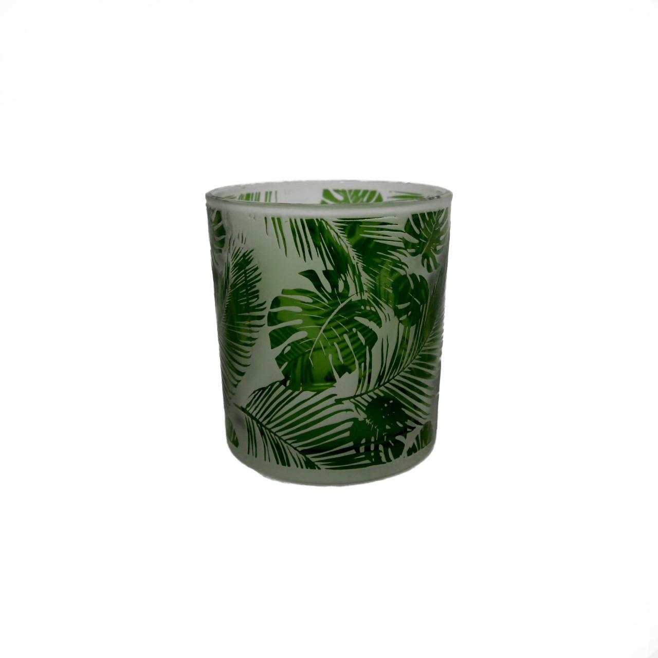 Castiçal Vidro All Leaves branco/verde 8x7cm Urban