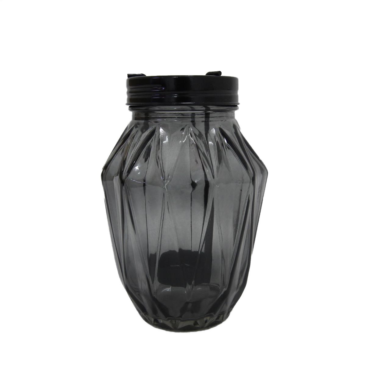 Castiçal Vidro Balone Cinza 15x11cm Urban