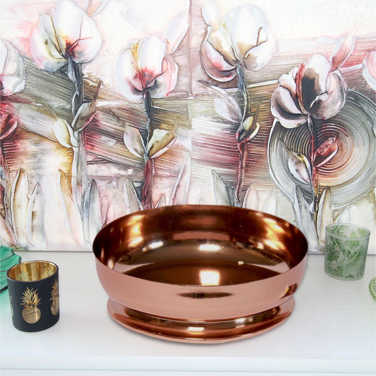Centro de mesa alumínio dourado 28x28x10cm Lilian Gift Design