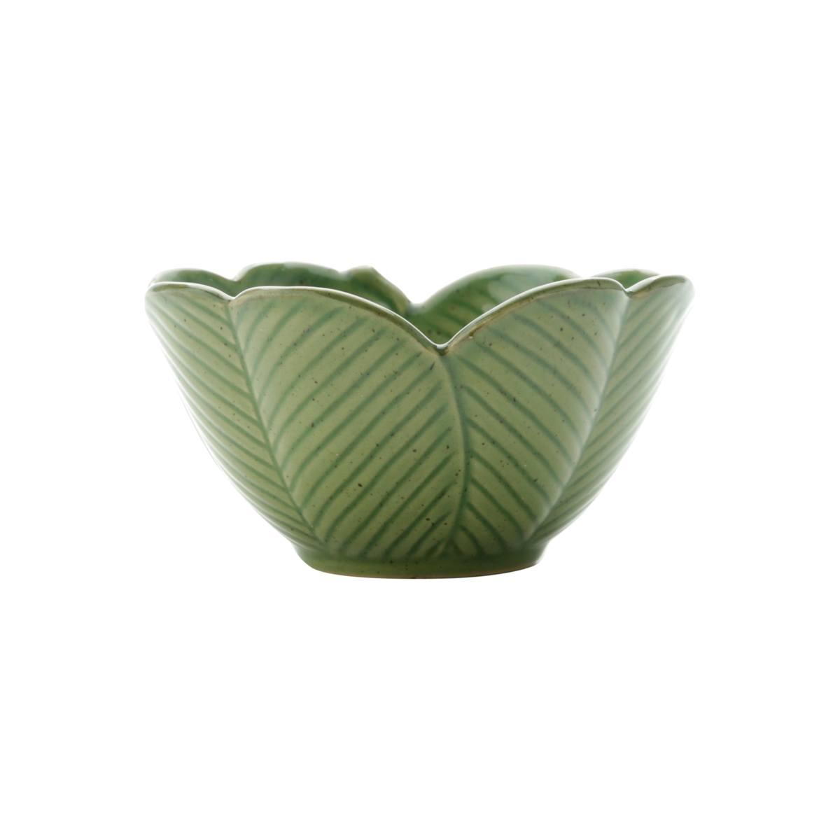 Centro de Mesa Decorativo Cerâmica Banana Leaf Verde 13x7cm Lyor