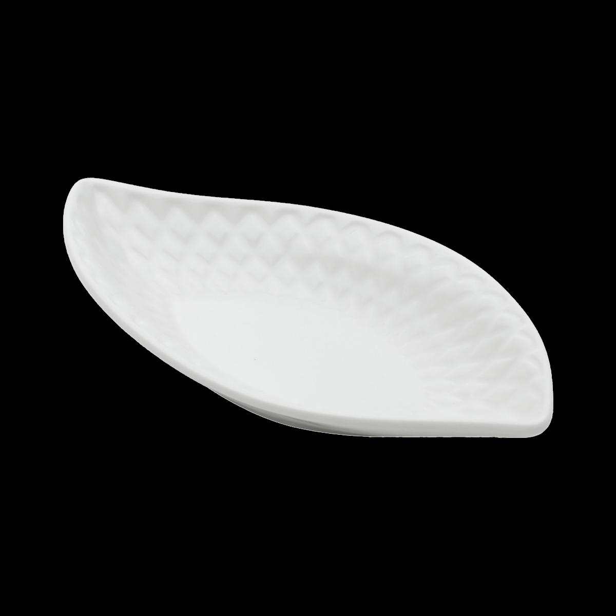 Cj 4 Pratos / Petisqueiras Cerâmica Curvy Leaf  20x10x3cm