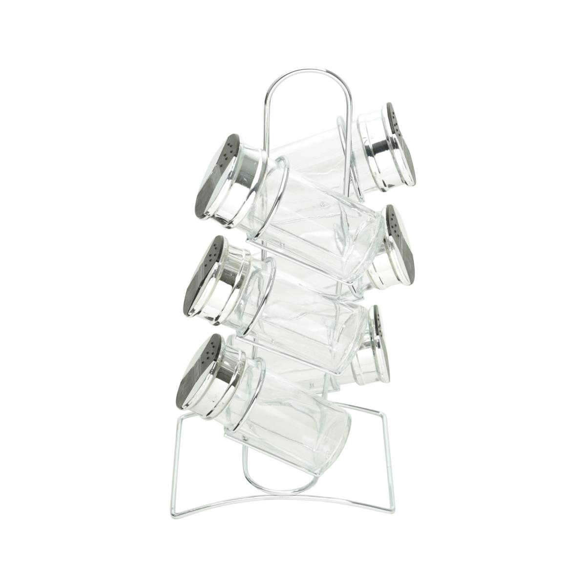 Cj 6 porta temperos vidro suporte metal 14x10x28 Bon Gourmet