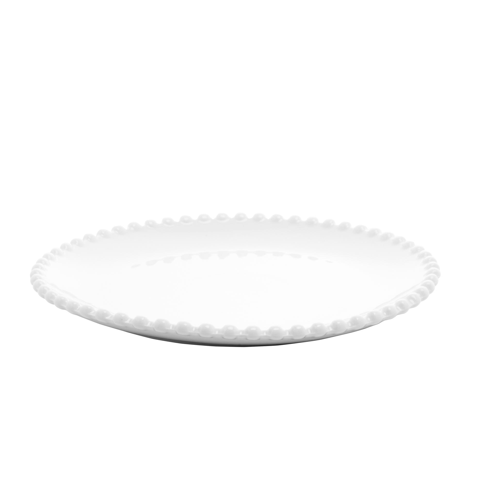 Cj 6 pratos porcelana sobremesa branca Beads 20cm Bon Gourmet