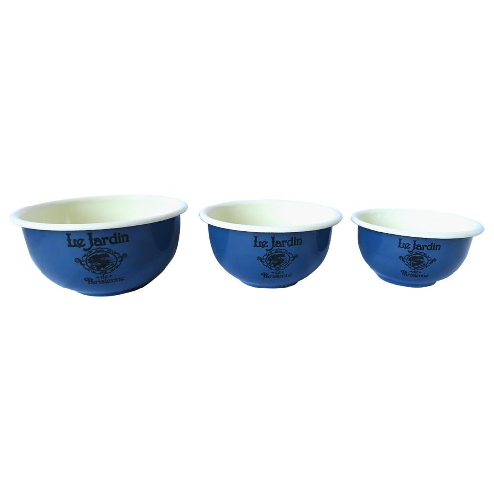 Cjto 3 potes Le Jardin Metal esmaltado azul 11 13 15cm BTC
