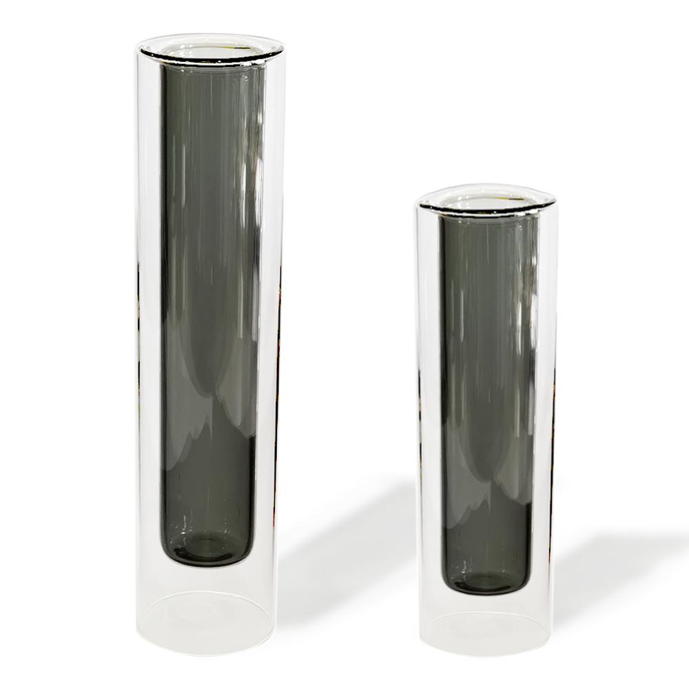 Cjto vasos vidro transparente com tubo fume 6x25 6x20cm BTC