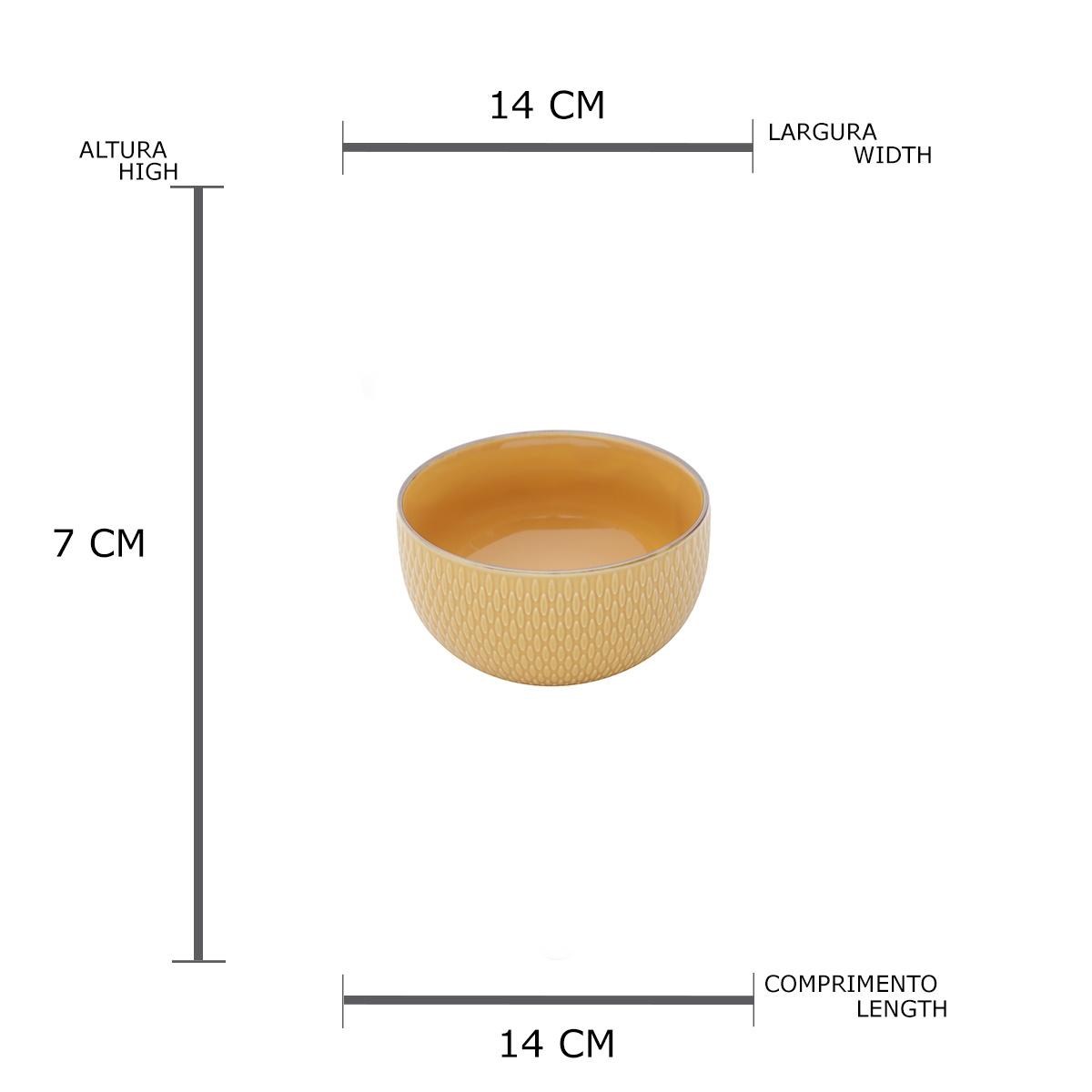 Conjunto 2 bowls em porcelana mostarda 700 ml 13,5x7cm Rojemac