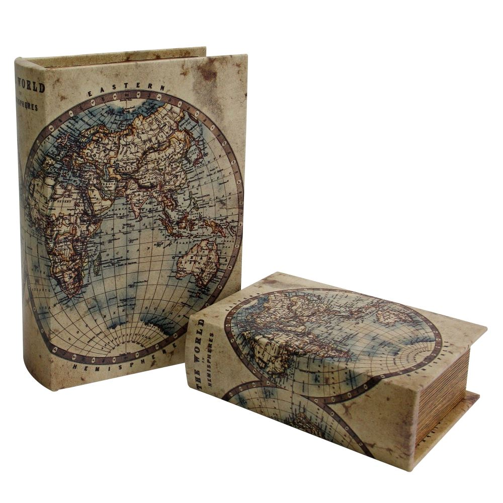 Conjunto 2 caixas livro decorativas Mapa Mundi BTC