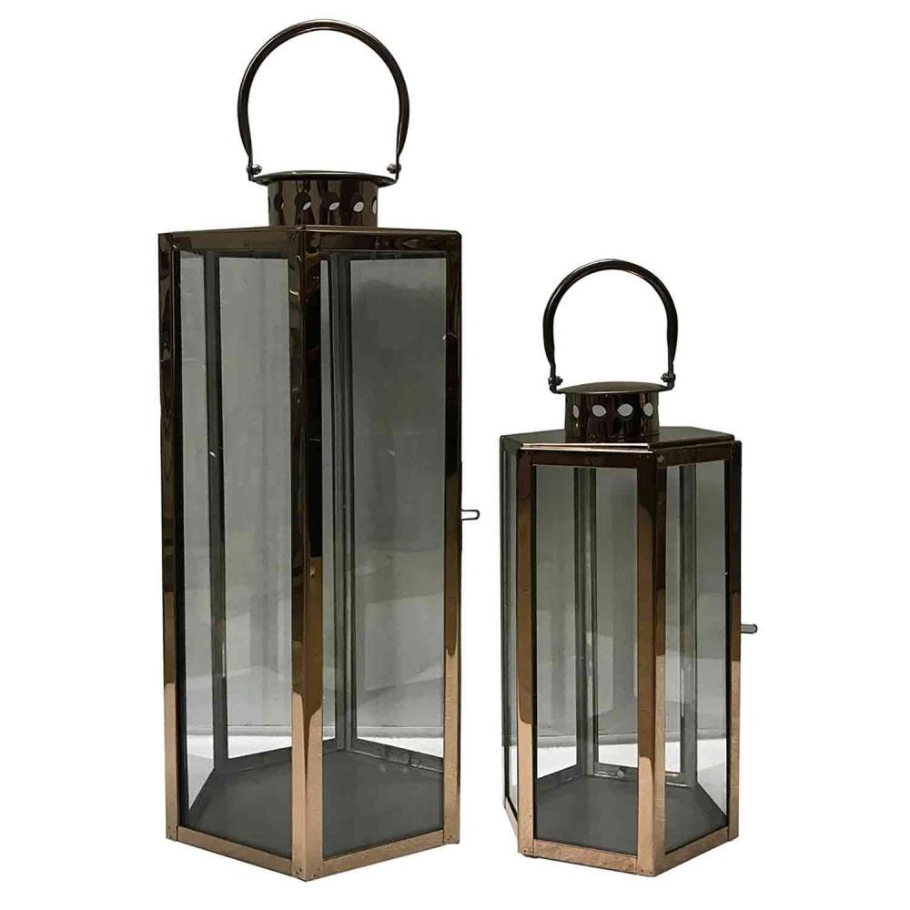 Conjunto 2 lanternas vidro metal dourado 68x23cm 43x20cm BTC