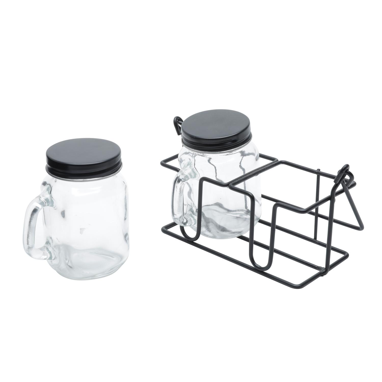 Conjunto 2 potes vidro suporte metal Black 15x8 7x8cm Urban