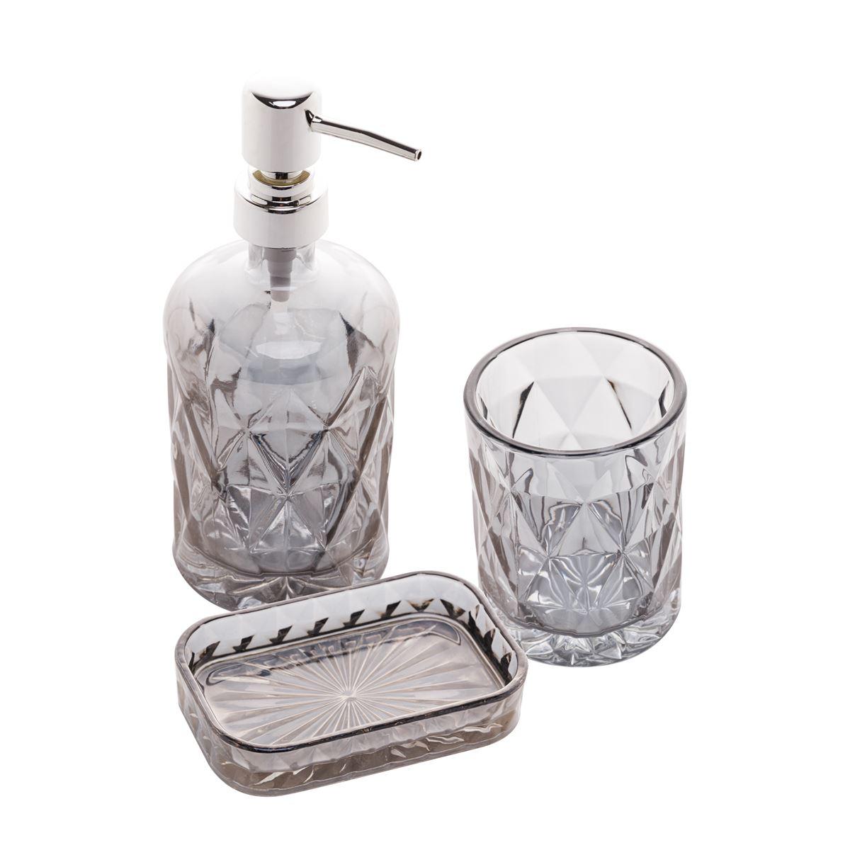 Conjunto 3 peças para banheiro vidro Diamond cinza Rojemac