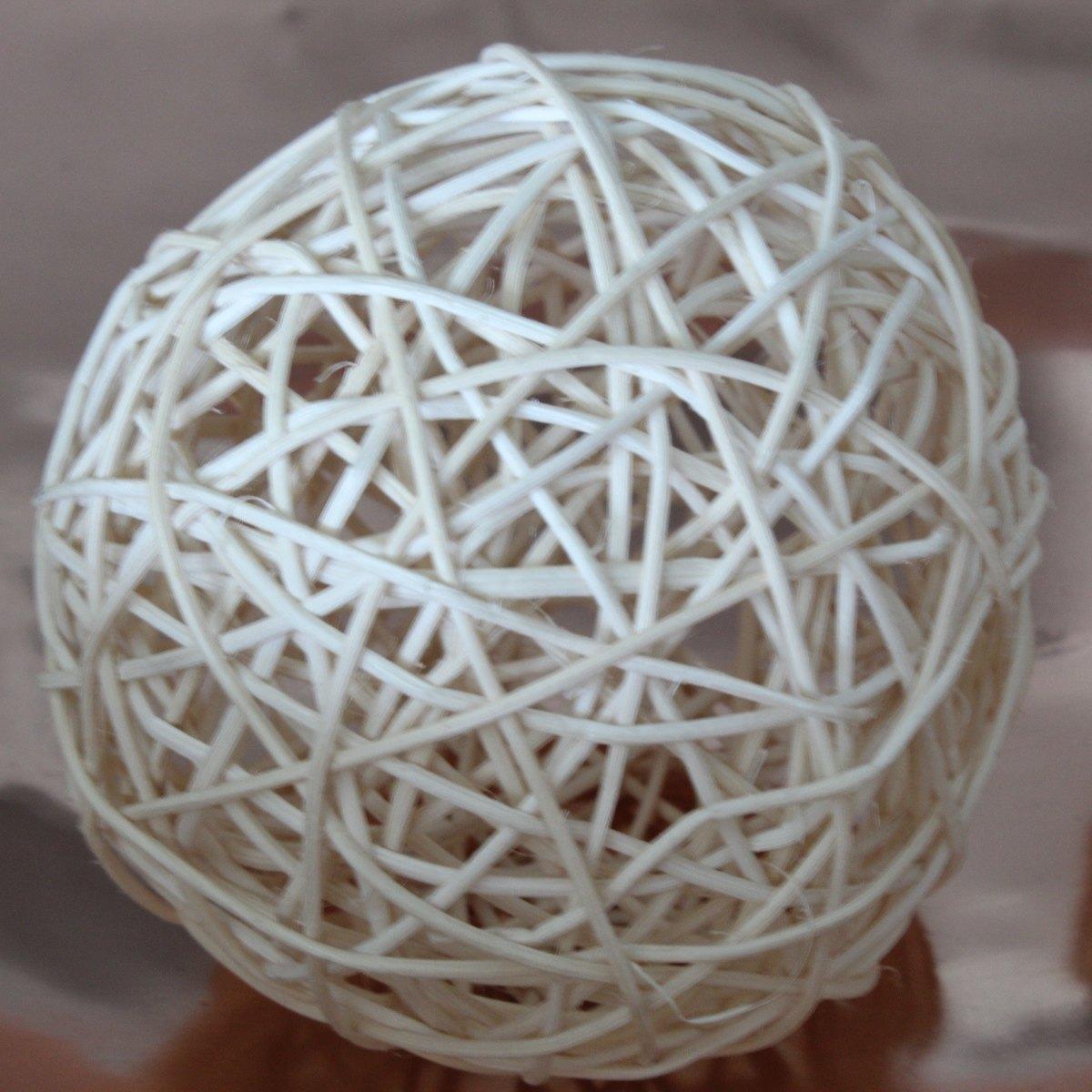 Conjunto 6 bolas de rattan bege 10cm BTC