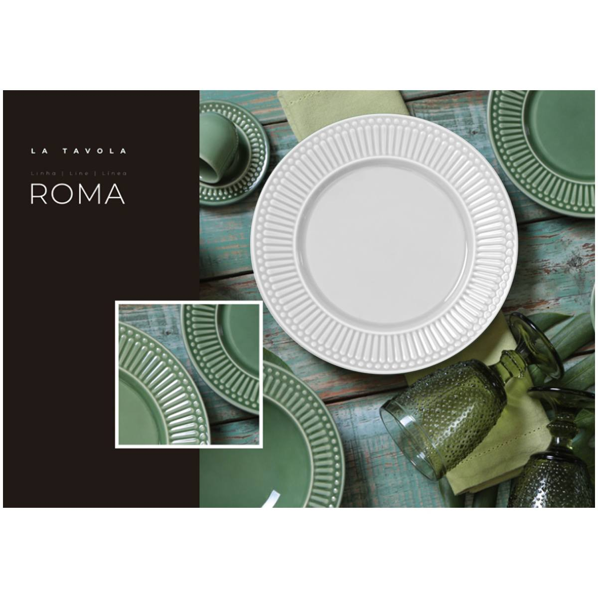Conjunto 6 Pratos Fundos Roma Branco 22cm Porto Brasil