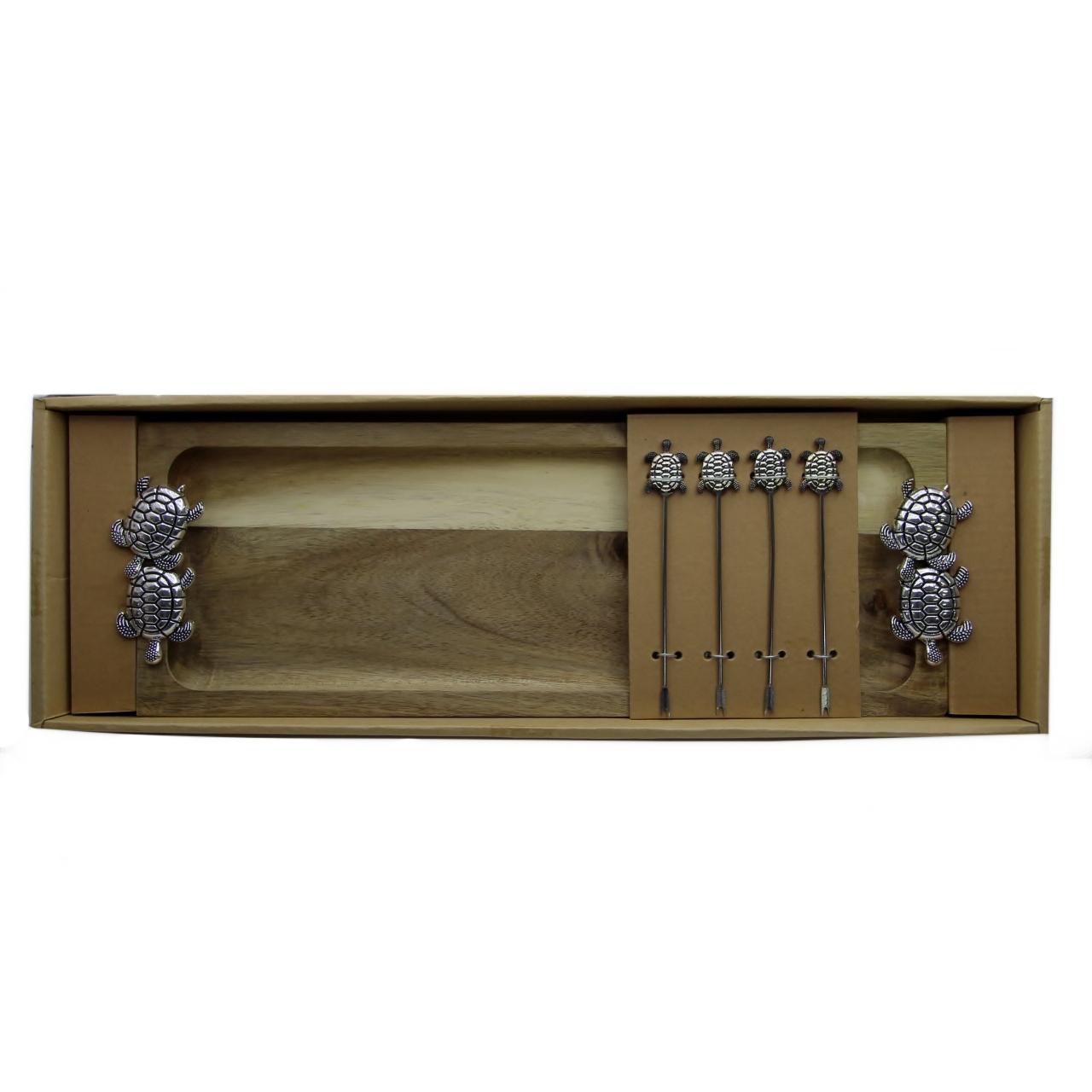 conjunto bandeja petisco madeira/prata tartarugas 44X15 Rojemac