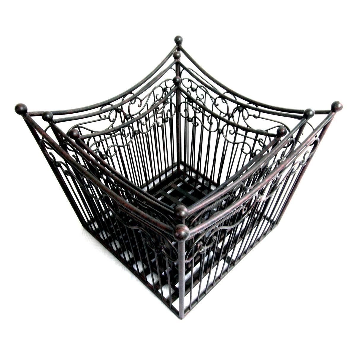 Conjunto de 3 cestos quadrados de ferro vintage BTC