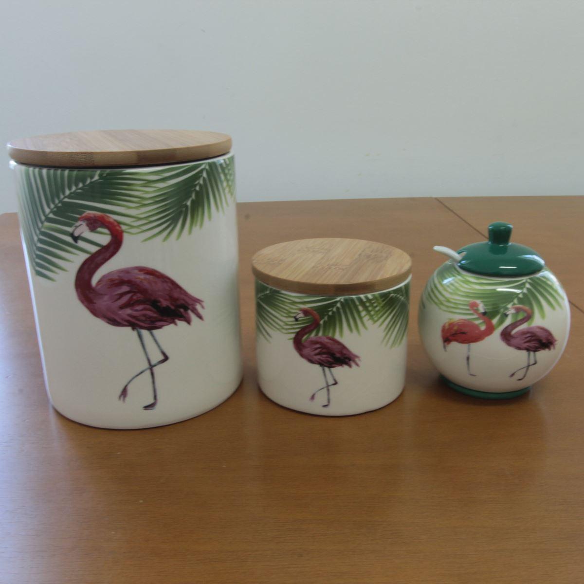 Conjunto potes cerâmica tampa madeira Flamingo BTC