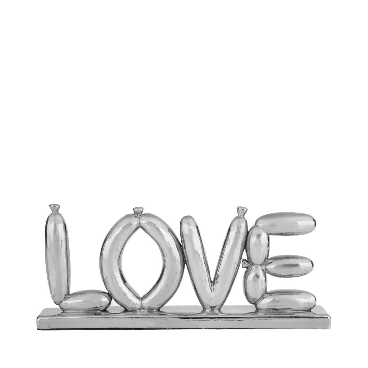 Decorativo Letter Balloon Love Cor Prata 22,5x3x9,5cm Urban