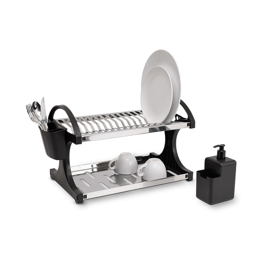 Escorredor inox 16 pratos, dispenser e porta talher Brinox