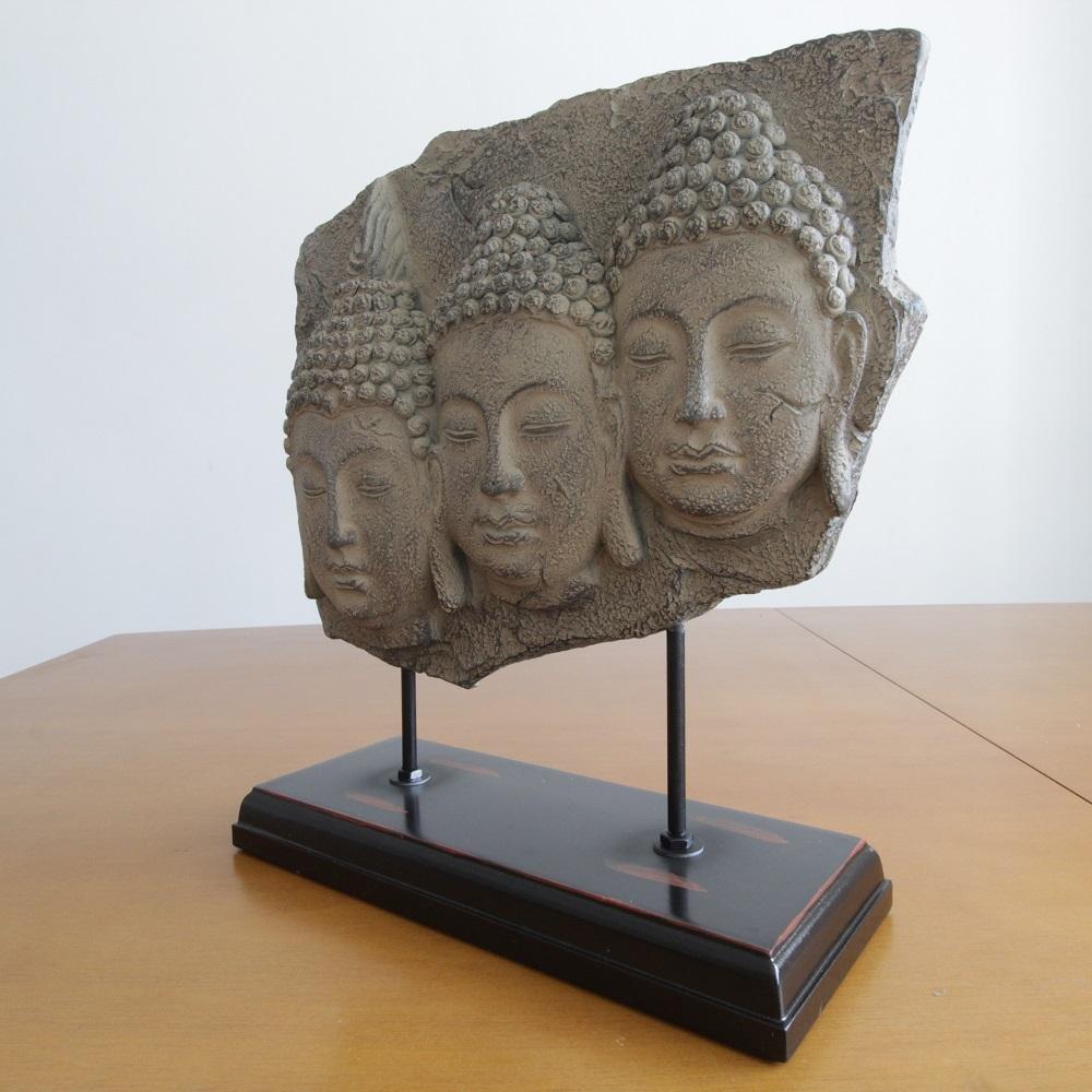 Escultura resina 3 Budas 29x10x24cm BTC