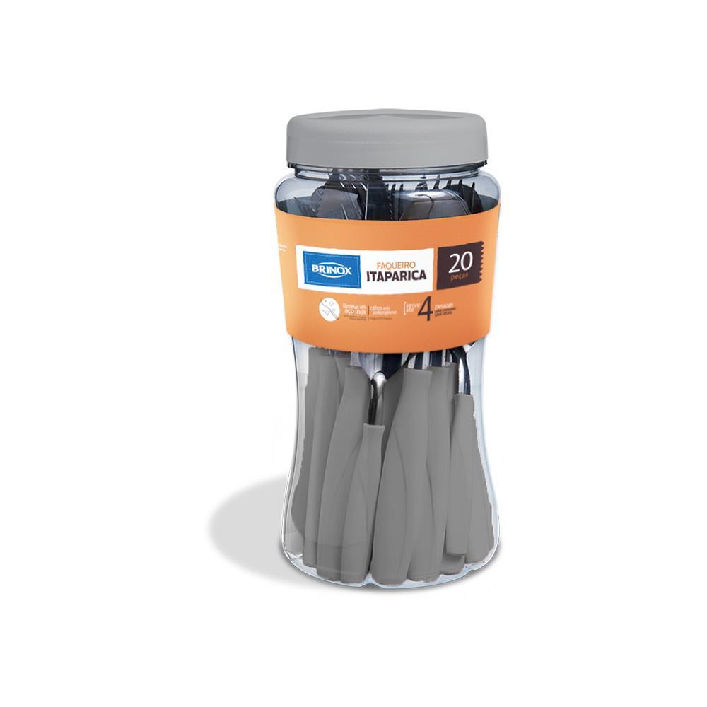 Faqueiro 20 peças cabo polipropileno cinza Itaparica Brinox