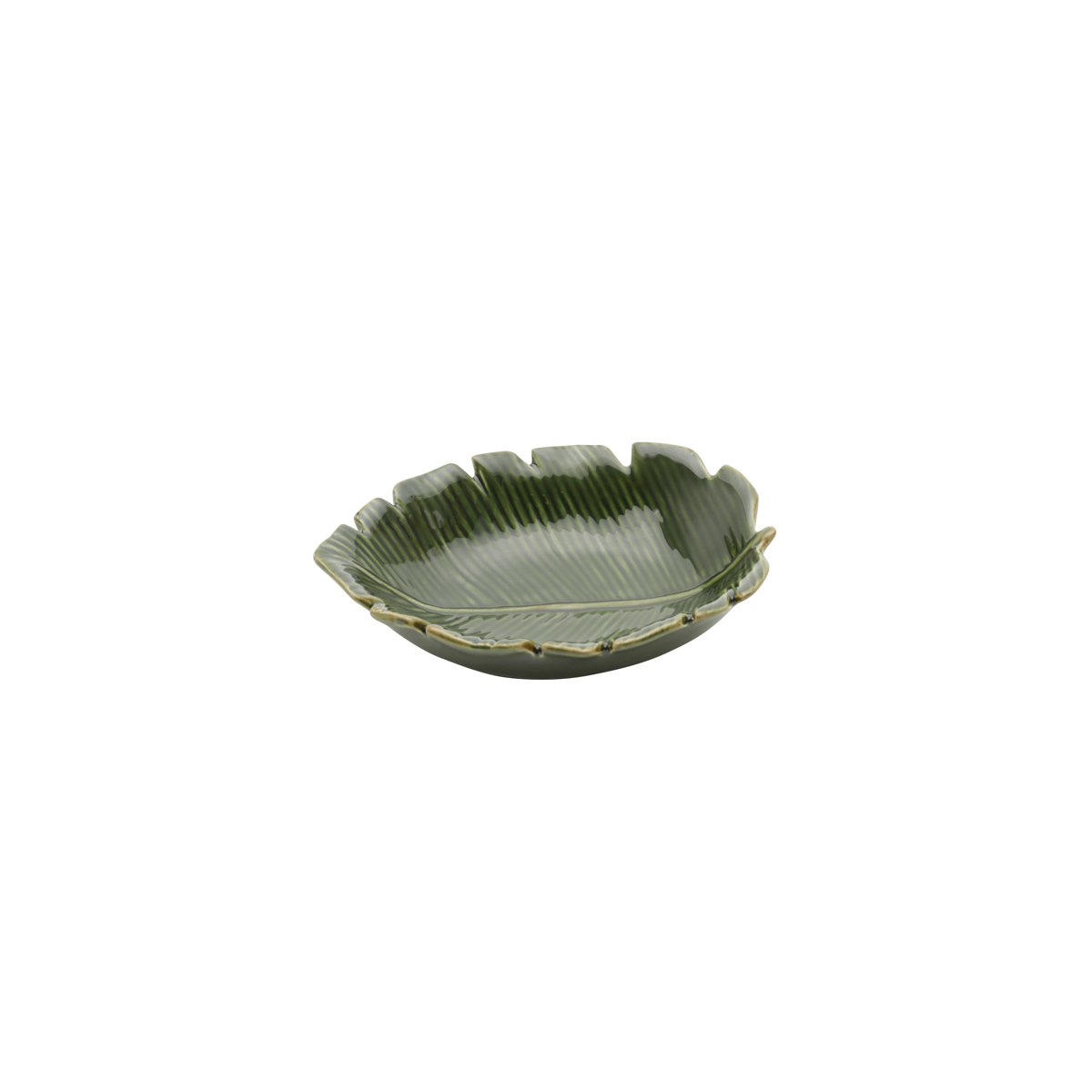 Folha decorativa cerâmica Banana Leaf verde 16x12x4cm Lyor