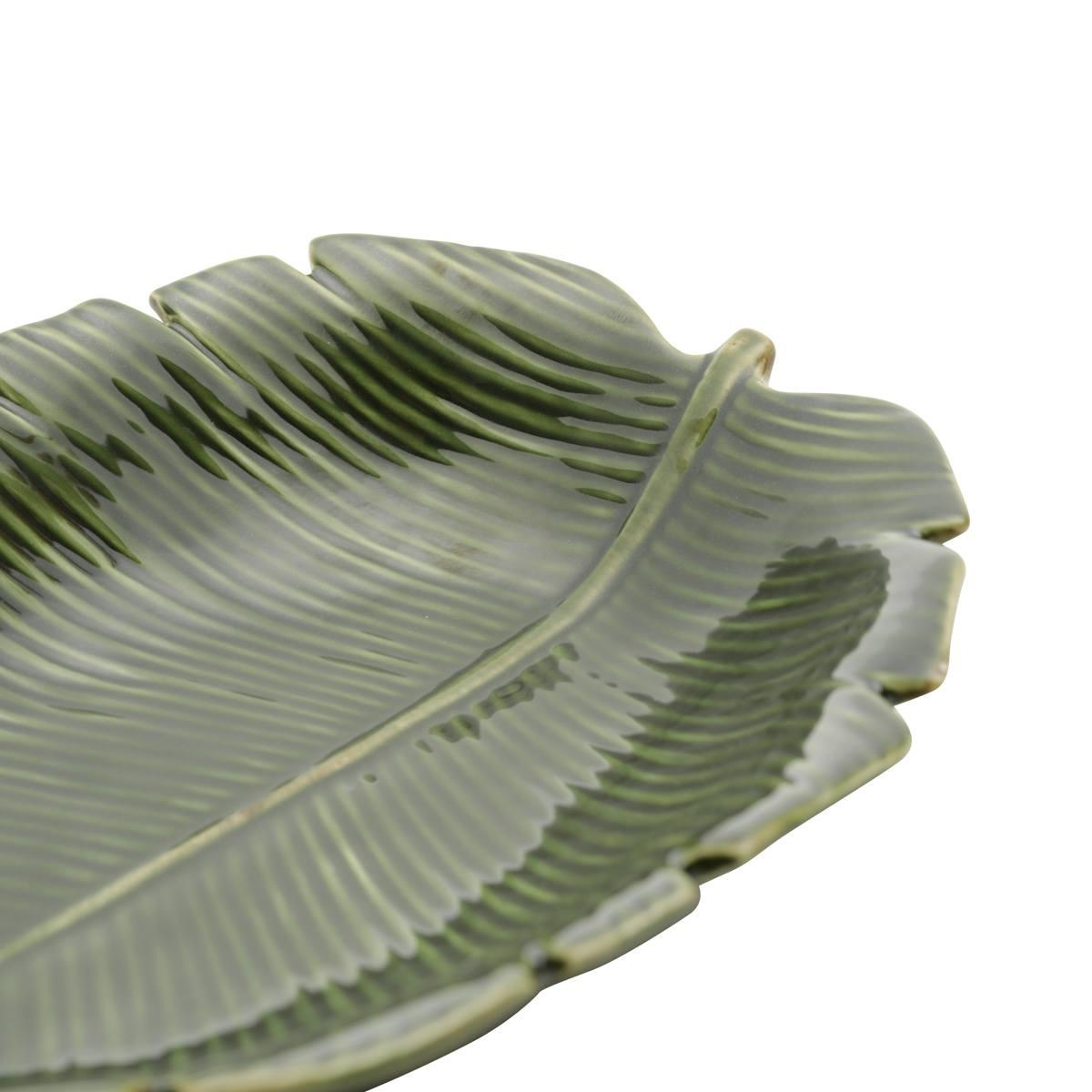 Folha decorativa cerâmica banana leaf verde 23x16x4,5cm Lyor