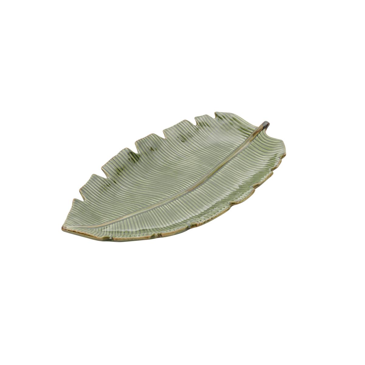 Folha decorativa cerâmica Banana Leaf verde 29x3x16cm Lyor