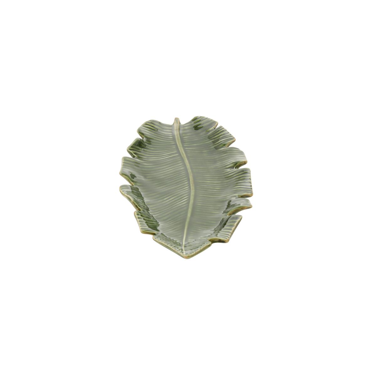 Folha decorativa de cerâmica Banana Leaf verde 21x12x3cm
