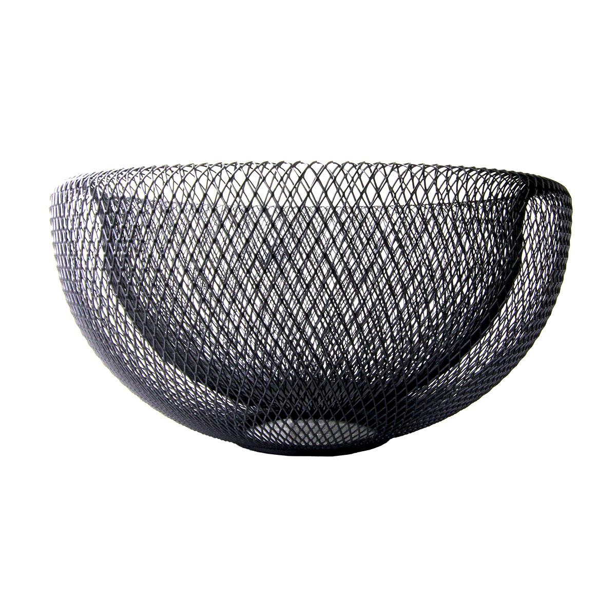 Fruteira metal preto vazado redonda 25x13cm BTC2