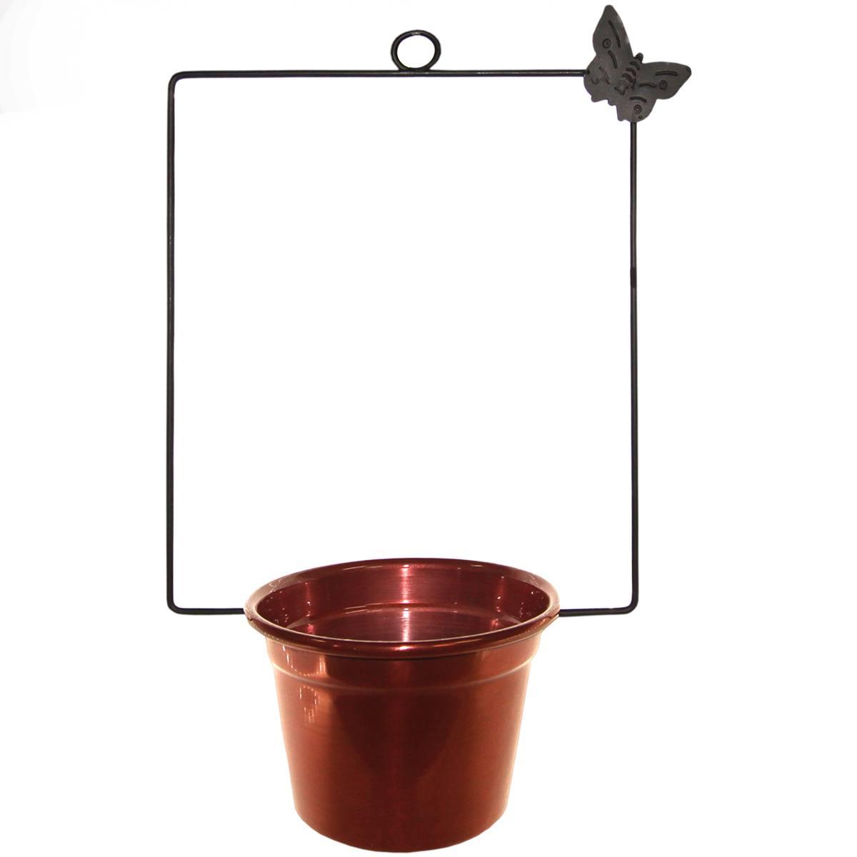 Gancho quadrado metal Borboleta 1 vaso 33x22x13cm Monte Real
