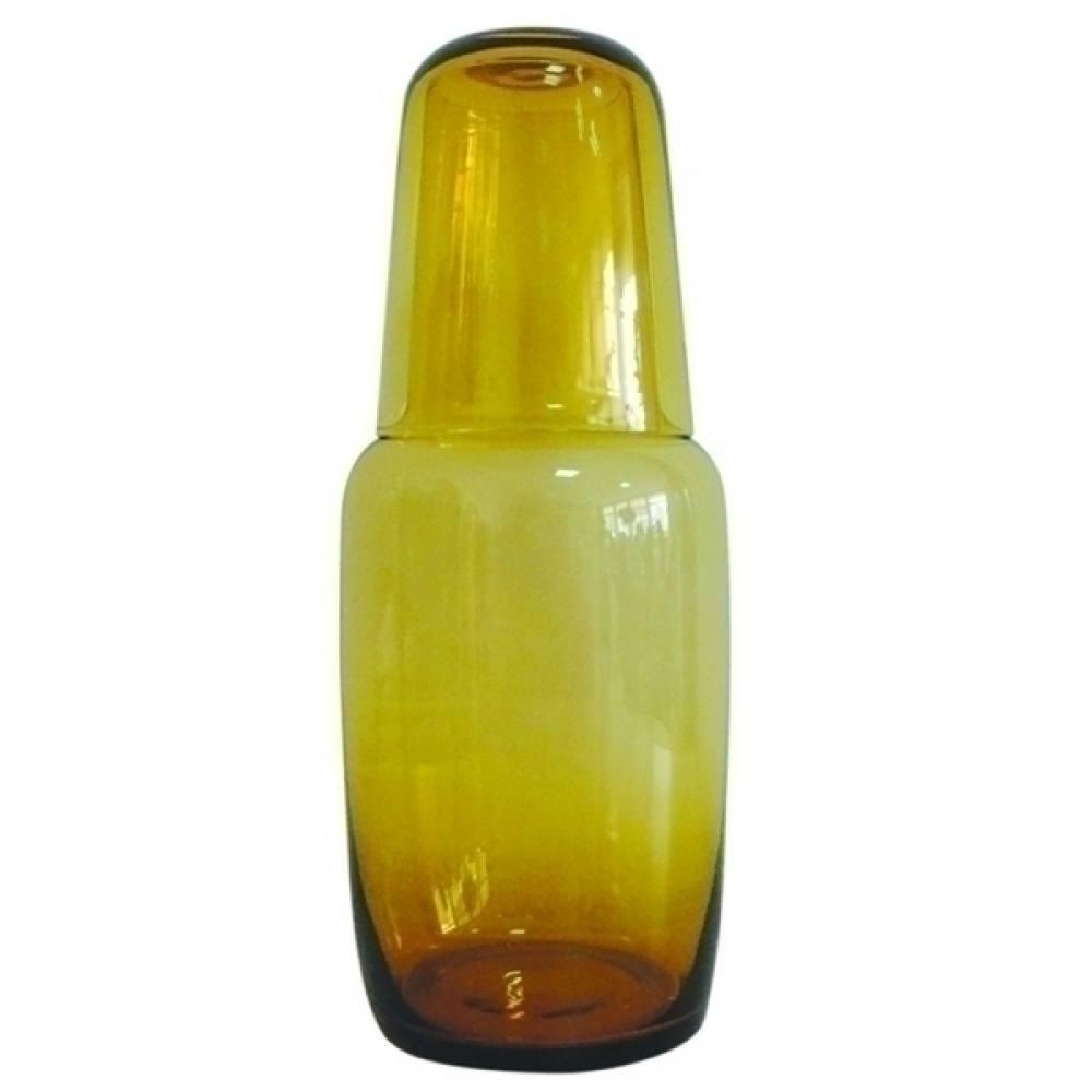 Garrafa de vidro para água com copo âmbar 24x9cm BTC