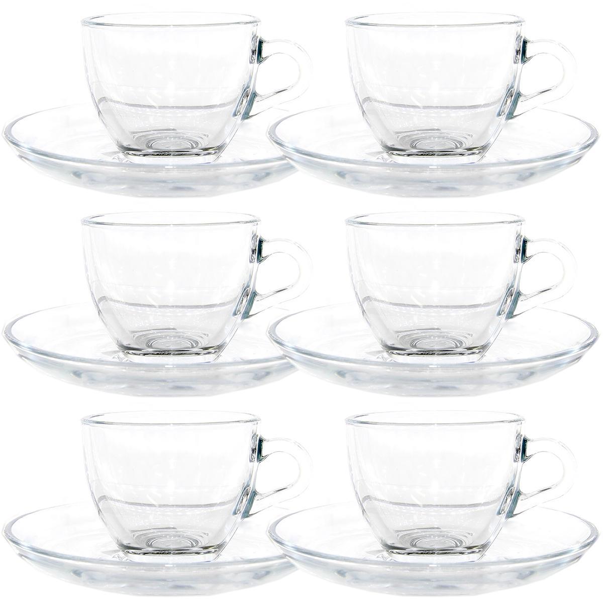 Jogo 12 Peças Café Basic Vidro 90ml Transparente Pasabahce