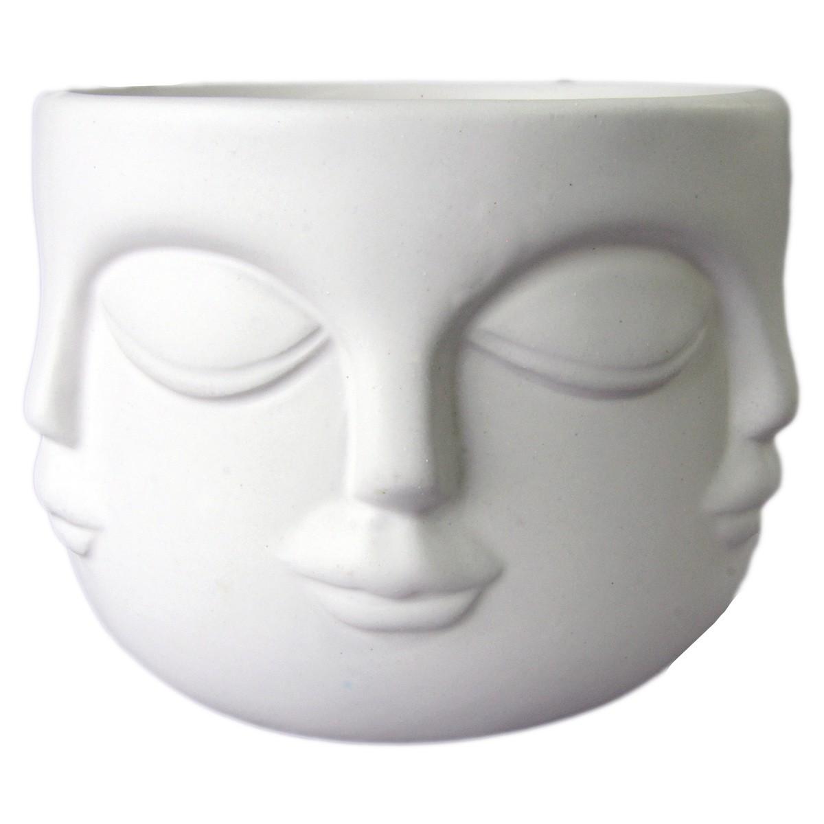 Jogo 2 Potes Rosto Cerâmica Branco e Preto 12x8,5cm BTC